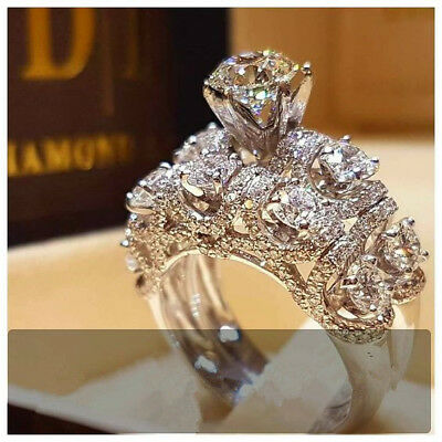 Luxurious White Sapphire 925 Silver Ring Bridal Anniversary Women Jewelry Sz5-11