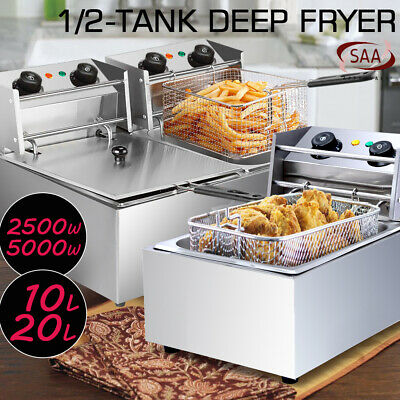 NEW Electric Deep Fryer - 10/20L Commercial Frying Basket Chip Cooker Fry Home