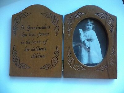 Vintage Carved Wood Bi fold  Picture Frame  Grandmother Verse With Photo