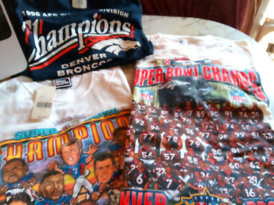 Lot of 3 Denver Broncos T-Shirts Superbowl 32 33 XXXII XXXIII 1998 AFC NWT L XL