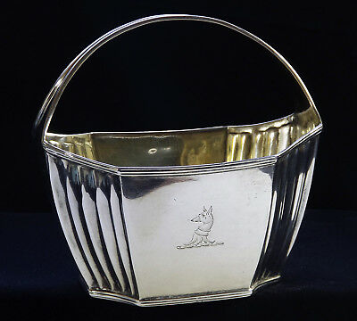 1797 Sterling Silver Fox Head Small Basket London England 18th Century