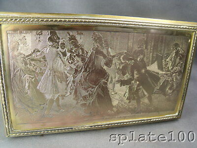 Gilt Silver Plate French Humidor Etched Parlor Musical And Dancing Scene