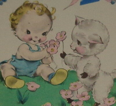 "Vintage 1942 birthday card, sweet baby and lamb, Rust Craft 5 1/4"" used"