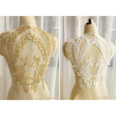 1 Pair 3D Lace Flower Embroidery Applique Tulle DIY Wedding Bridal Dress Crafts