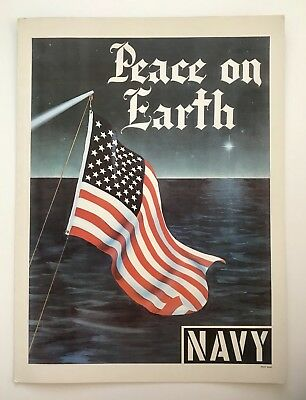 """Vintage Original 1965 US Navy Recruiting Poster """"Peace on Earth"""" American Flag"""