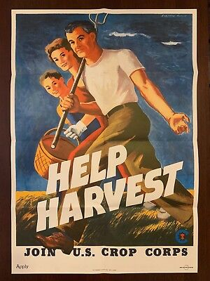 HELP HARVEST - JOIN U.S. CROP CORPS - WW2 Poster - ORIGINAL