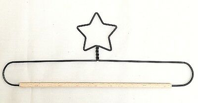 "Wire Quilt Hanger with Star on Top & Wood Dowel  7"", 8"", 9"" & 10"" x 4"" High"