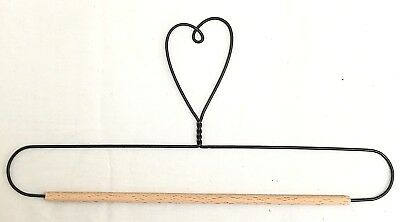 "Wire Quilt Hanger with Heart on Top & Wood Dowel  7"", 8"", 9"" & 10"" x 4-3/4"" High"