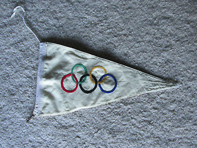 Original 1936 Olympic German Car Pennant Flag w Rope & Metal Fastener Medal Pin