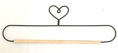 "Wire Quilt Hanger with Heart on Top & Wood Dowel  7"", 8"", 9"" & 10"" x 3-1/4"" High"