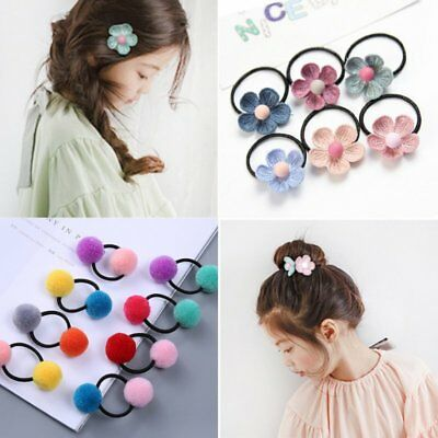 Cute Kids Girls Elastic Rope Hair Ties Flower Pom Ball Head Band Hairbands Gifts