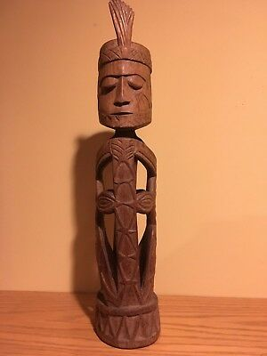 "Central American Hollow Carved Statue 17"" Tall Hardwood Detailed Retail is $129"