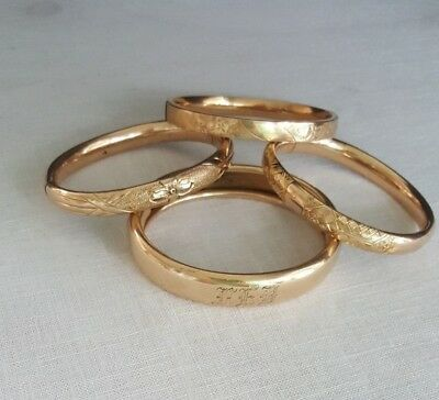 Antique Victorian Hinged Bangle Cuff Bracelets Floral Etched Lot of Four