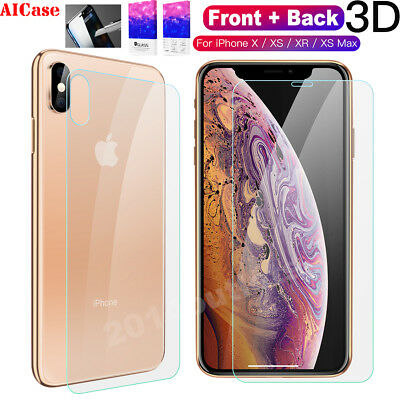9H Apple iPhone XS Max XR Front Back 3D Touch Tempered Glass Screen Protector US