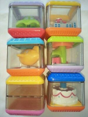 Fisher Price Peek- A-Boo Activity Blocks x 6 Cars Aeroplane