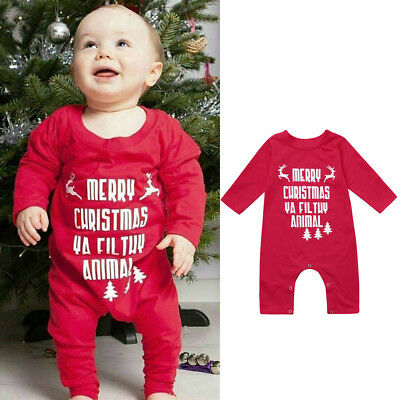 136397ace CHRISTMAS JUMPSUIT NEWBORN Baby Girls Boys Letter Rompers Jumpsuit ...
