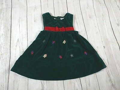bt kids girls 12 month velvet quilted bib dress holiday christmas cotton vtg - 12 Month Christmas Dress