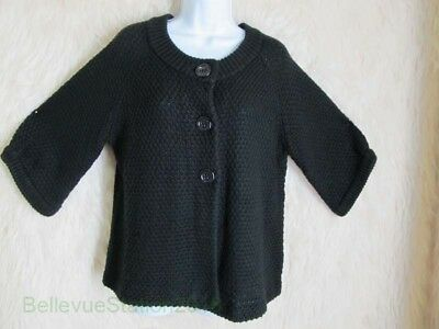 Chicos Chunky Knit Sweater Plus Size 2 Black Wool Blend Career