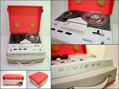 1960's BSR RIVIERA 2 Track Portable Tubes Valves Reel to Reel Tape Recorder