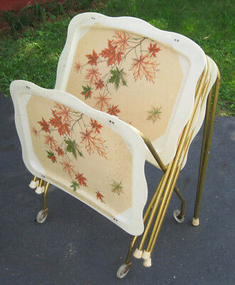 4 Vintage Fiberglass TV Tables Trays w/Rolling Storage Cart, Mid-Century, Leaves