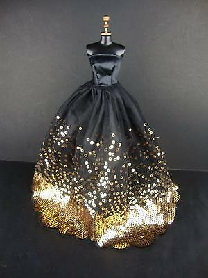 2018 The Most Amazing Black Dress with Lots of Gold Sequins for Doll US