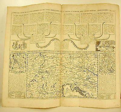 Henri Chatelain 1720 Map the court Home Austria counties of Habsburg