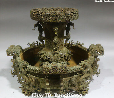 Old Top Quality China Ancient Bronze Ware Dragon Beast Buddhist Mandala Statue