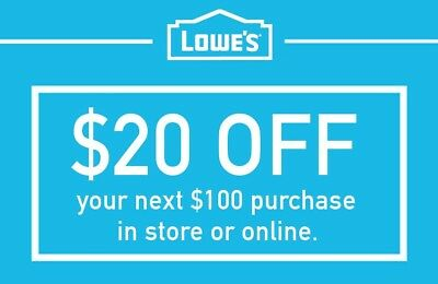 Lowes $20 Off $100 1COUPON-Fast Delivery-InStore/Online