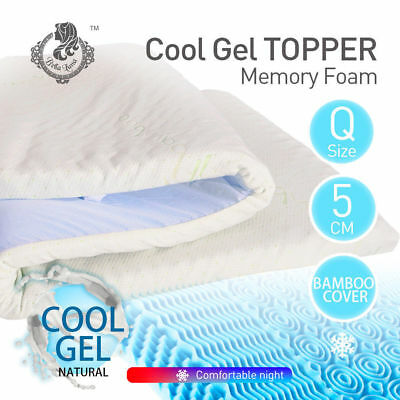 Cool Gel Memory Foam Mattress Topper with BAMBOO Fabric Cover Queen 8CM