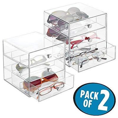 aa1e8a228c26 mDesign Stackable Organizer Holder with 3 Drawers for Eyeglasses