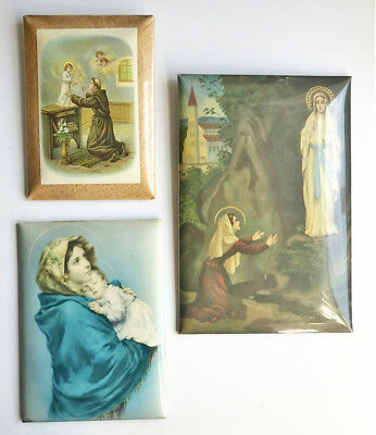 3 x Vintage Tinplate Celluloid Religious Pictures