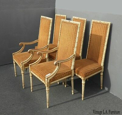 Set Four Vintage French Provincial Orange Stripped Dining Chairs ~ Five Chairs