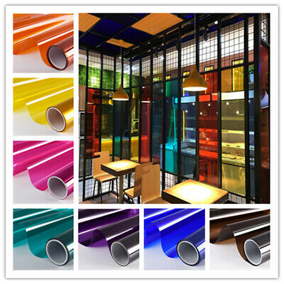 Transparent Window Film Self Adhesive Sticky Stain Glass Tint Decor Vinyl  Roll