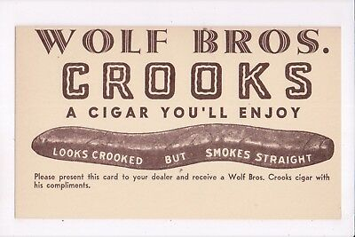 WOLF BROTHERS CROOKS CIGARS - advertising postcard - ca. 1915-1930s