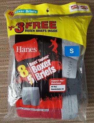 Boy's Hanes Boxer Briefs SMALL 6/8 Comfort Waistband 8 Pack NEW - Basic colors