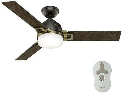 Ceiling Fan With Light Kit Indoor Modern Brass 48in Universal Remote LED Small
