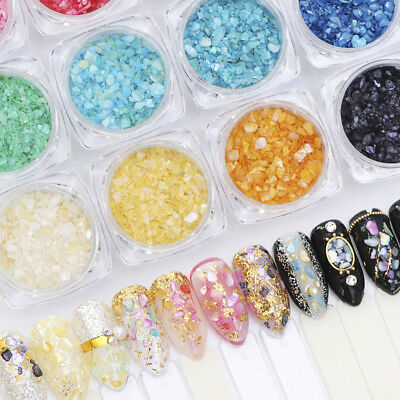 12 Colors Shell Crushed Stones Gravel Flakes Marble Manicure Nail Art Decoration