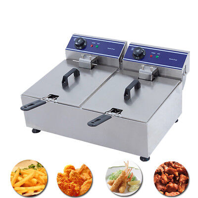 20L Electric Deep Fryer Commercial Fry Frying Twin Fat  Chip  CookerTank Basket