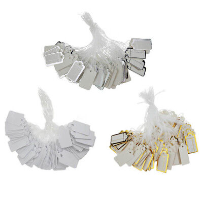 100Pcs Paper Jewelry Clothes Label Price Tag Swings With Elastic Tied String