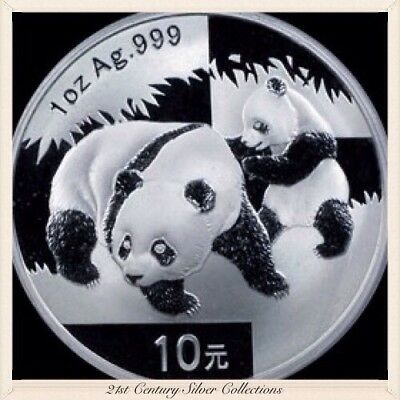 Frosty Gem 2008 1 Oz Chinese Silver Panda Coin .999 Pure 10 yuan