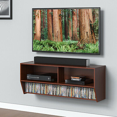 Wood Tv Stand Wall Mount Media Entertainment Console Cntr Desk Floating Shelf Ma