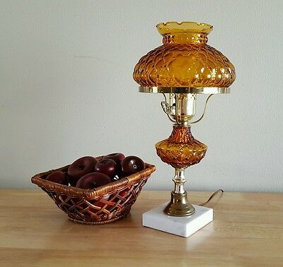 Vintage Early American Lamp Marble Base w/ Glass and Brass Electric
