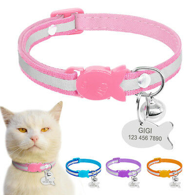 Reflective Nylon Safety Cat Breakaway Collar with Personlized Cat Name ID Tag
