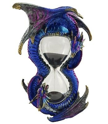 Dragon Sand Timer Hour Glass Statue Ornament Figurine Sculpture Blue *23 cm*