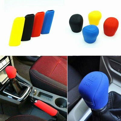 1set Manual Car Hand Brake Case Silicone Gear Head Shift Knob Cover Red IG