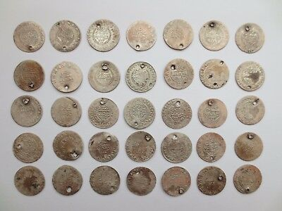 LOT of 35pcs 21mm SILVER OTTOMAN TURKISH TURKEY ISLAMIC COINS VERY RARE 51.7gram