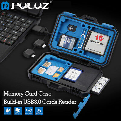 PULUZ Card Reader+ Waterproof Memory SD Card Case Storage Holder for TF CF SIM