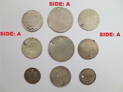 LOT 9pcs LARGE SILVER OTTOMAN TURKISH TURKEY ISLAMIC COINS VERY RARE 26.8gram