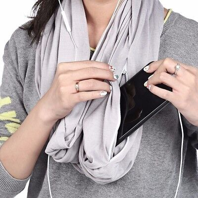 Hot Scarf Unisex Infinity Cotton Collar Scarves with Zipper Pocket Travel wM9N