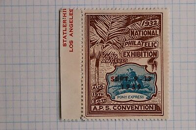 National Philatelic Exposition Aps Convention Pony Express 1932 1959 Überdruck